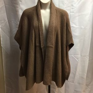 Talbots Taupe Brown Wool Blend Knit Sweater Wrap